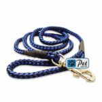 Bright Nylon Cord Dog Leash (Blue-Black)