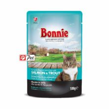 Bonnie Cat Pouch - Salmon & Trout Chunks in Jelly (100g)